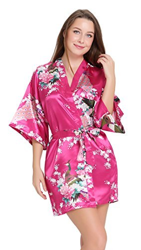 aibrou kimono robe de chambre chemise de nuit femme fleurs paon sous v tements xx large rouge. Black Bedroom Furniture Sets. Home Design Ideas