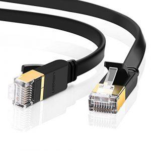 UGREEN Câble Ethernet, Cat7 Câble Réseau Ethernet RJ45 10Gbps 600MHz STP 8P8C Supporte Nintendo Switch, Routeur, Modem, TV Box, PC, Xbox, PS2, PS3, PS4, Consoles de Jeux Vidéo, Boîtiers ADSL, Switch etc. Plat, Noir (3m)