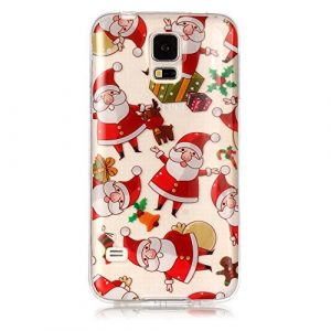 Coque Transparent pour Samsung Galaxy S5, KSHOP Coque Silicone en Doux TPU Premium Ultra Mince Anti-Scratch Anti-Shock Housse de Protection pour Samsung Galaxy S5- Noël, Père Noël
