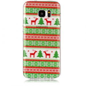 Coque Silicone Samsung Galaxy S7 edge, KSHOP Premium Coque Transparent en Soft TPU Silicone Ultra Slim Anti-Fingerprint Anti-Chocs Bumper Case Silicone – Joyeux Noël, Rennes Rayé