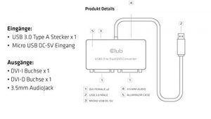 Club3D CSV-2604 Adaptateur USB 3.0 Type A vers DVI Dual Blanc