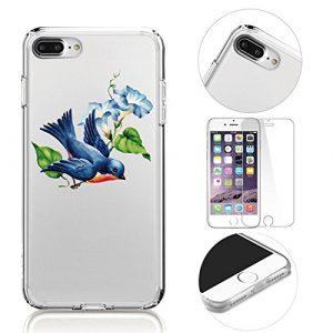 Coque de Protection IPhone 8 Plus Etui transparent,MingKun IPhone 7 Plus Antidérapent Coque en Silicone Transparente IPhone 7 Plus / iPhone 8 Plus 5.5 Pouces Souple TPU Housse + 1 X verre trempé