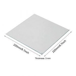 Wisamic Effacer Verre Borosilicate chaleur Lit 220 x 220 x 3 mm pour imprimantes 3d MK2/MK2A, Anet A8, Anet A6, Reprap, Mendel