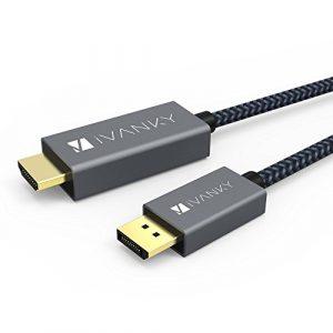 Câble DisplayPort vers HDMI iVanky [2M, Nylon Tressé] Convertisseur DisplayPort vers HDMI Mâle vers Mâle (Video&Audio) pour ordinateur de bureau, AMD, NVIDIA, HP Elitebook, ThinkPad et autres – Gris