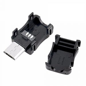 Wilk 10Pcs 2.6*0.9*0.8cm connecteur Mini USB 5p Prise Mâle Coque en Plastique à souder pour Câble
