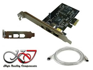 KALEA-INFORMATIQUE – Carte Controleur PCI Express (PCIE) FireWire 400 IEEE1394a 3 Ports – Chipset Via – Equerres Low et High Profile – Cordon Ilink