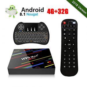 [4GB+32GB] Android 8.1 H96 Max+ Smart TV Box 4K Ultra HD Set Top Box RK3328 Quad-Core 64bit CPU 2.4G WiFi 100M LAN Ethernet H.265 3D HDR Boîtier TV avec Mini Clavier sans Fil Rétroéclairé