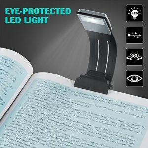 BLOOMWIN LED Lampe de Lecture avec Clips USB Rechargeable 4 Luminosité Réglable Pliable Lecture de Nuit Avec Magnétique Lampe Clips pour Livres Kindle Tablette iPad Ordinateurs Portables etc.