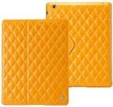 Jisoncase matelassé matelassé Housse étui en cuir véritable pour iPad 432-yellow Taille: 9,75x 7.61x 0,98