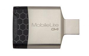 Kingston – MobileLite G4 – Lecteur de Carte Mémoire Externe USB – Métallique