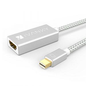 Mini DisplayPort HDMI iVanky® Adaptateur HDMI Mac en Nylon Tressé – Garantie À Vie – Adaptateur Mini DP/Thunderbolt vers HDMI pour MacBook Air/Pro, Microsoft Surface Pro et Plus – Argent
