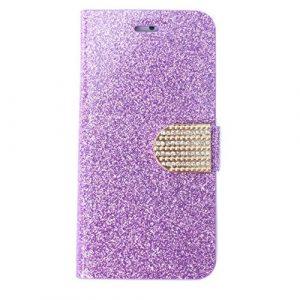 SODIAL Housse en cuir PU en cristal populaire bling luxe pour Samsung S4 i9500 – Violet
