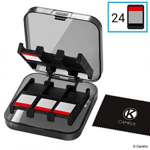 CamKix étui de jeu compatible avec Nintendo Switch – Peut contenir jusqu'à 24 jeux – Système de rangement de protection – Organisateur de cartes de jeu – Étui rigide avec 24 emplacements
