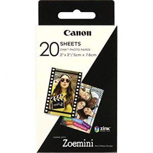 Canon ZP-2030 Papier photo Technologie Z-Ink – Pack de 20 feuilles compatibles ZOEMINI