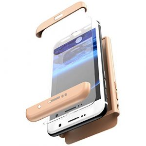 JAWSEU Coque Compatible avec Samsung S8 Plus,Ultra Mince 3 en 1 Rigide PC Étui Housse Hard Case 360 Degrés Full Body Verre tempéré Tempered Film Protection complète Bumper Case,Or