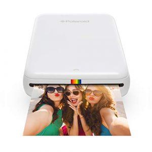 Polaroid ZIP Mobile Printer – Imprimante équipée de la technologie d'impression sans encre ZINK – Compatible avec les appareils iOS & Android – BLANC