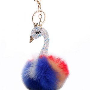 SEGRJ Beautiful Swan Multicolore Paillettes Fluffy Pompon Boule de Voiture Porte-clés Support Porte-clés Sac Pendentif
