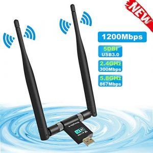 ShangQia Clé WiFi Adaptateur 1200Mpbs WiFi Dongle USB 3.0 5dBi Double Bande 5G 867Mbps+2.4G 300Mbps Carte WiFi pour PC XP/Vista/7/8/10, Mac OS