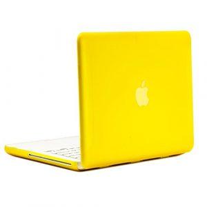 Universel en caoutchouc jaune coque rigide pour MacBook 33cm Blanc (A1342/oct 2009–2011) avec étui universel tapis de souris (non pour 1ère génération A1181avec souris Clicker)