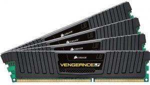 Corsair CML32GX3M4A1600C10 Vengeance LP 32GB (4x8GB) DDR3 1600 Mhz CL10 Mémoire pour ordinateur de bureau performante avec profil XMP. Noir