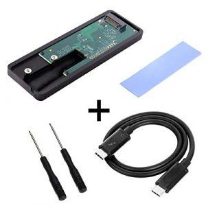 CY Thunderbolt 3à 110mm 80mm PCI Express PCI-e vers NGFF M-Key NVMe Ahci SSD Convert Coque Laser câble Adaptateur Noir