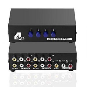 SIENOC 4 Port Entrée 1 Sortie Vidéo Audio AV RCA Switch Switcher Sélecteur Box