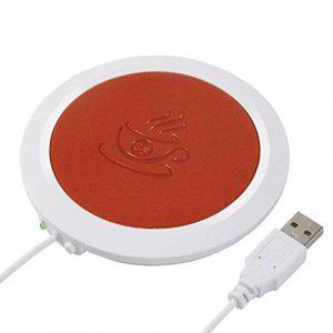 gaeruite Réchauffeur de Tasse de Tasse de café d'USB Chauffant, CA en Cuir Artificiel Tasses de Bureau Tasse de réchaud de Tasse de café de thé avec Le câble USB de 1m pour Le Bureau à la Maison