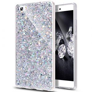 JAWSEU Huawei P8 Lite Etui Coque Silicone TPU Transparent Luxe Brilliant Bling Glitter Diamant Paillette Sparkle Ultra Mince Cristal Clair Flexible Soft Gel Bumper Case