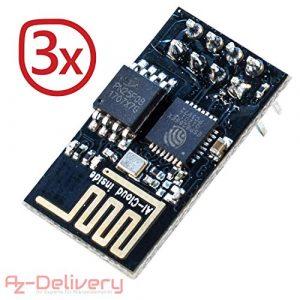 AZDelivery ⭐⭐⭐⭐⭐ ESP8266 01 ESP-01 WiFi Un Module Wi-FI pour Arduino, Raspberry Pi et Un microcontrôleur (3X ESP-01)