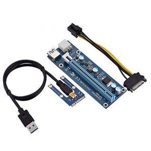 Fosa Adaptateur Rise PCI-E,Powered de 1x à 16x avec câble d'extension USB 3.0 60 cm et câble d'alimentation MOLEX vers SATA 15 Broches–6 Broches, Adaptateur Riser pour cordon GPU – Ethereum Mining