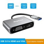 JIC USB 3.0 vers HDMI et VGA, Adaptateur Double Affichage pour Windows 7/8/10, 2 en 1 Adaptateur USB vers HDMI Sortie Double 1080P