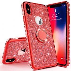 JAWSEU Coque Étui iPhone X iPhone XS Silicone TPU Case Paillette Brillant Glitter Luxe Diamant Strass Case 360 Degrés Bague Stand Holder Cristal Flexible Souple Gel Bumper Case,Rouge