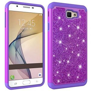 JAWSEU Coque Galaxy On7 2016,Etui Galaxy J7 Prime 2016 Silicone Gel TPU Case Glitter Paillette Brillant 2 en 1 Placage Rigide PC Housse de Protection Diamant Strass Case,Violet