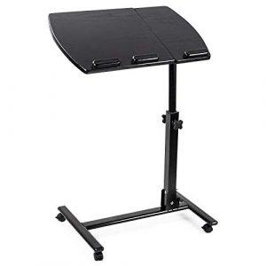 D4P Display4top Table pour Ordinateur à roulettes Pliable Portable Hauteur Réglable Pivotant 360° avec Support de Souris Latéral Inclinable 180° 4 roulettes Verrouillables,Noir