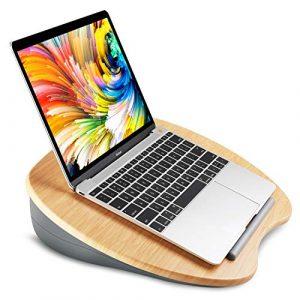 HUANUO Support pour Ordinateur Portable avec Coussin et Plate-Forme en Bambou sur Le Lit et Le Canapé, Bureau de Genou avec Trou de câble et Bande Antidérapante, pour PC, Tablette jusqu'à 14″