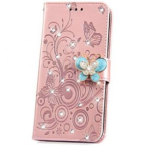 JAWSEU Compatible avec Huawei P30 Coque Cuir Paillettes Glitter Bling Diamant Strass Une Fleur Papillon Portefeuille PU à Rabat étui Brillant Leather Wallet Flip Case,Or Rose
