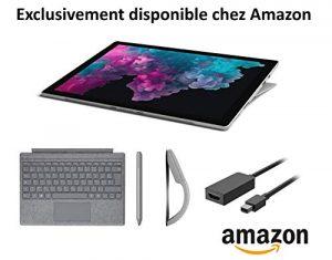 Microsoft Pack Exclusif Amazon Surface Pro 6 (core i5, RAM 8 Go, SSD 128 Go, Windows 10) – Platine + Clavier Platine + Stylet Platine + Souris Arc Platine + Câble HDMI