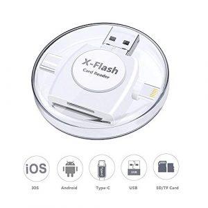 Sonoka Lecteur Carte SD, Lecteur de Carte Mémoire 4 en 1 Lightning/USB 3.0/Type C/Micro USB Adaptateur Carte SD Mémoire pour iPhone/PC/Macbook/Android OTG/Notebook/TV(Blanc)