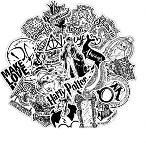 ⭐️ Top Stickers ! ⭐️ Lot de 31 Stickers Black and White Harry Potter – Autocollant Top Qualité Non Vulgaires – Fun, Bomb – Customisation pc Portable, Valises, Vélo, Skate, Trotinettes