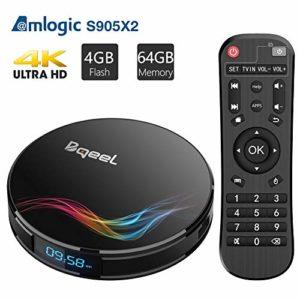 Bqeel Android 8.1 TV Box Bluetooth 4.0 【4GB+64GB】 Amlogic S905X2 Box TV Y4 Max WiFi 2.4G/5.8G 100Mbps LAN Boîtier TV 4K H.265 USB 3.0 Smart TV Box