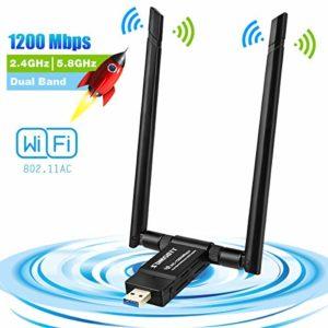Adaptateur usb Wifi, Clé WiFi Dongle 1200Mbps Double Bande (2.4G/300Mbps+5G/867Mbps) Double 5dBi Réseau Antennes pour PC Windows XP/Vista/7/8/10 Linux Mac OS