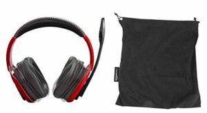 AmazonBasics Casque de jeu professionnel avec microphone pour PC, Rouge