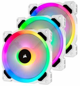 Corsair LL120, LL Series, 120mm Dual Light Loop RGB LED, PWM, à flux d'air élevé Ventilateur (Pack Triple avec module Lighting Node) – Blanc