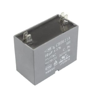 DealMux CBB611A AC 450V 10uF 4 Pins Air Conditioner Motor Capacitor Gris