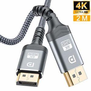 Câble DisplayPort 2M,Câble DP 4K en Nylon tressé[4K@60Hz,1440p@144Hz],Câble DisplayPort vers DisplayPort Câble pour Ordinateur Portable, TV, TV,PC ASUS/Dell/Acer – Câble de Moniteur de Jeu (Gris-New)