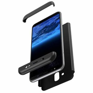 JAWSEU Compatible avec Samsung Galaxy A6 Plus 2018 Coque de Protection Intégrale avec Protecteur d'écran Verre trempé Slim Plastique PC Hard Case Protection Complète Bumper Antichoc,Noir