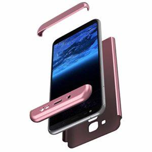 JAWSEU Compatible avec Samsung Galaxy J6 2018 Coque de Protection Intégrale avec Protecteur d'écran Verre trempé Slim Plastique PC Hard Case Protection Complète Bumper Antichoc Housse,Or Rose