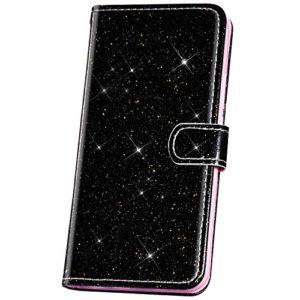 JAWSEU Compatible avec Samsung Galaxy J8 2018 Coque Portefeuille PU Étui Cuir à Rabat Glitter Paillette Brillante Homme Femme Magnétique Stand Slim Leather PU Flip Wallet Case,Noir