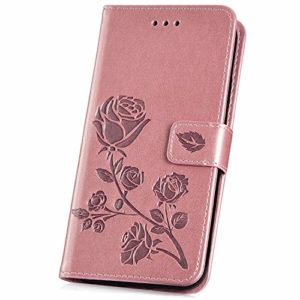 JAWSEU Compatible avec Samsung Galaxy S10e Coque Portefeuille PU Étui Cuir à Rabat Magnétique Élégant Beau Roses Fleur Motif Slim Stand Leather Flip Wallet Case,Or Rose