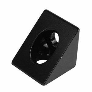Mi Tu Delta Connecteur d'angle triangulaire en aluminium pour imprimante 3D Noir